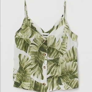 NWT H&M Palm Print Linen Top with Buttons